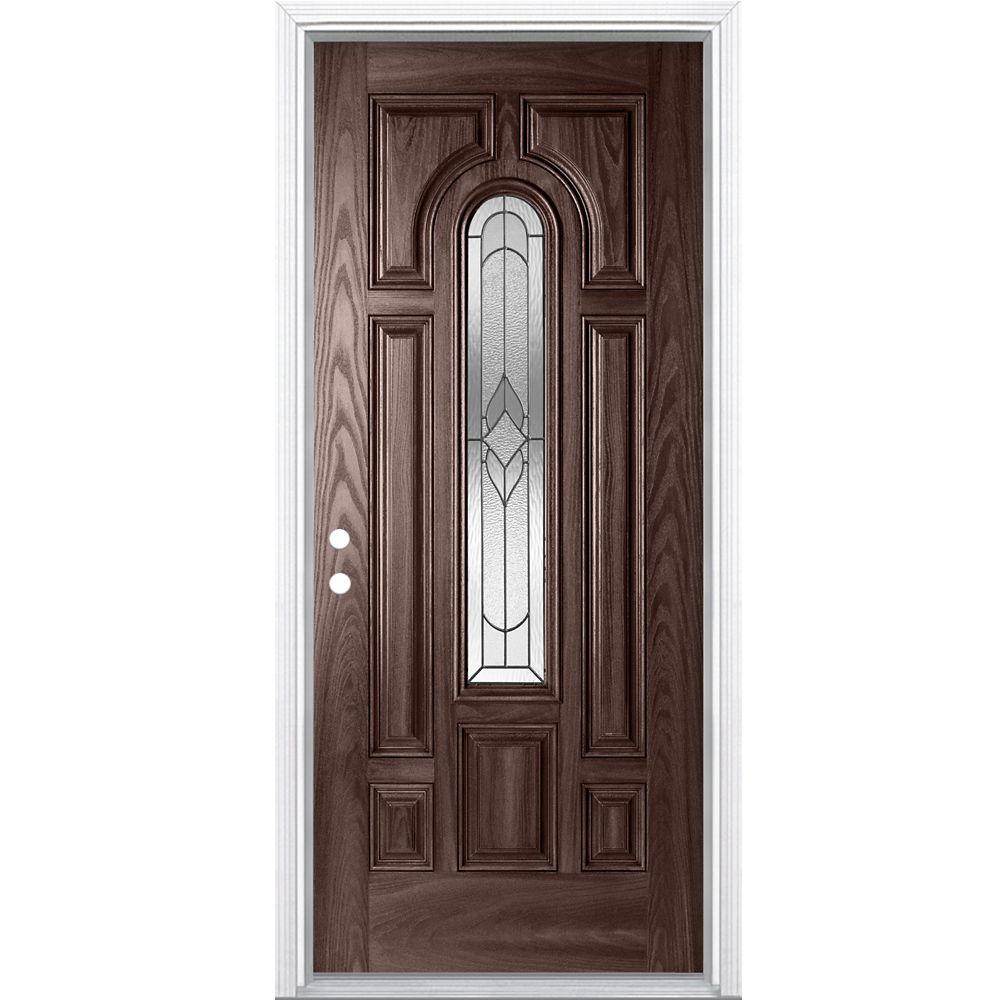 Masonite 32-inch x 4 9/16-inch Oxney Centre Arch Fibreglass Right Handed Entry Door in Merlot - ENERGY STAR®