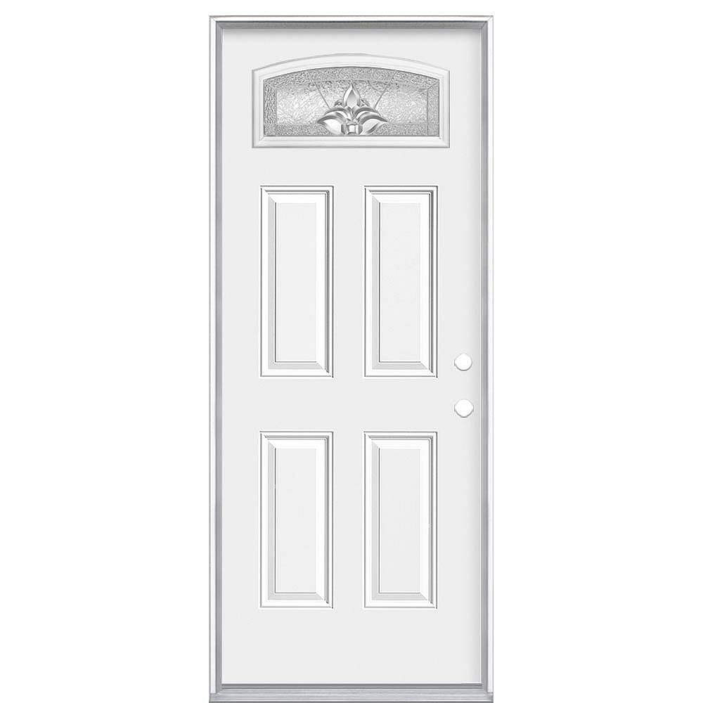 Masonite 36-inch x 6 9/16-inch Providence Camber Fan Left Hand Entry Door - ENERGY STAR®