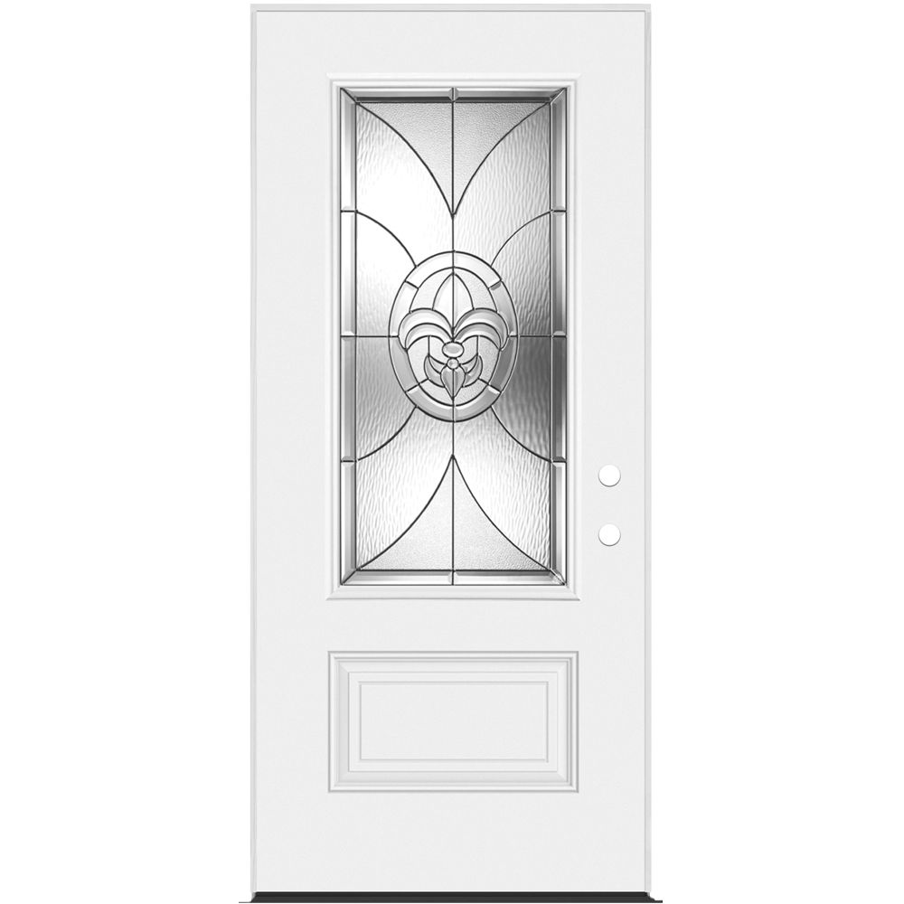 34-inch x 7 1/4-inch Fleur De Lis 3/4-Lite Left Hand Entry Door