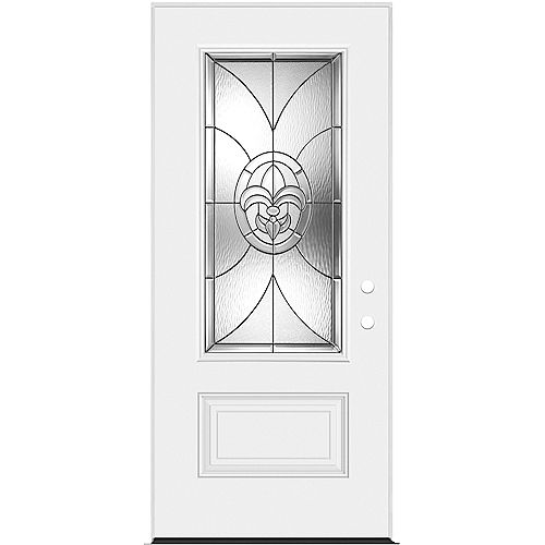 Masonite 34-inch x 80-inch x 7-1/4-inch Fleur De Lis 3/4-Lite Left Hand Entry Door
