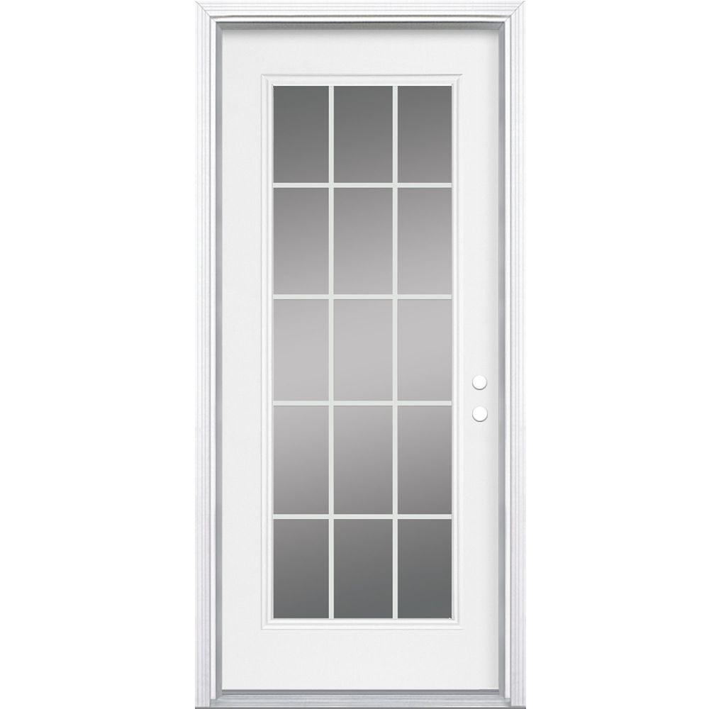 34-inch x 4 9/16-inch Internal 15-Lite Left Hand Low-E Entry Door
