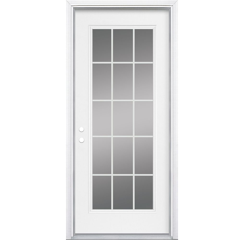 32-inch x 4 9/16-inch Internal 15-Lite Right Hand Low-E Entry Door