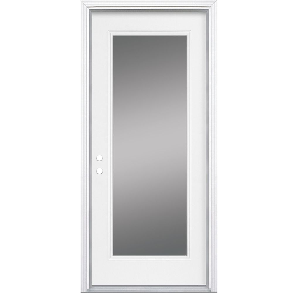 Masonite 34-inch x 7 1/4-inch Clear 1-Lite Right Hand Low-E Entry Door - ENERGY STAR®