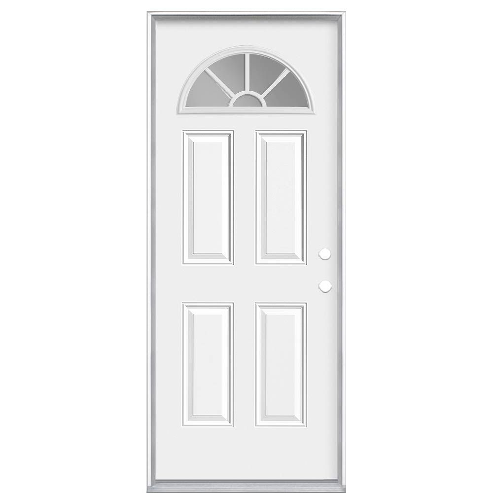 Masonite 36-inch x 4 9/16-inch Internal Fan Lite Left Hand Entry Door - ENERGY STAR®