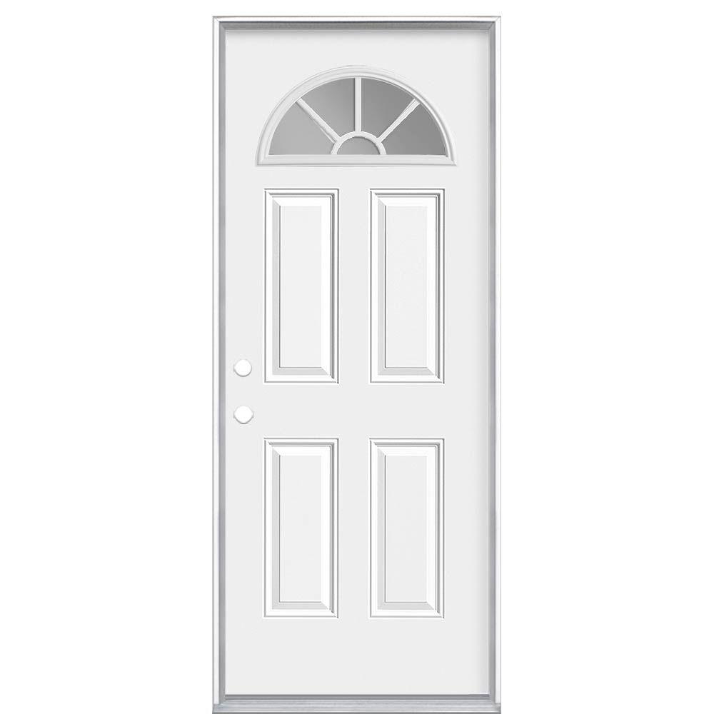 34-inch x 6 9/16-inch Internal Fan Lite Right Hand Entry Door