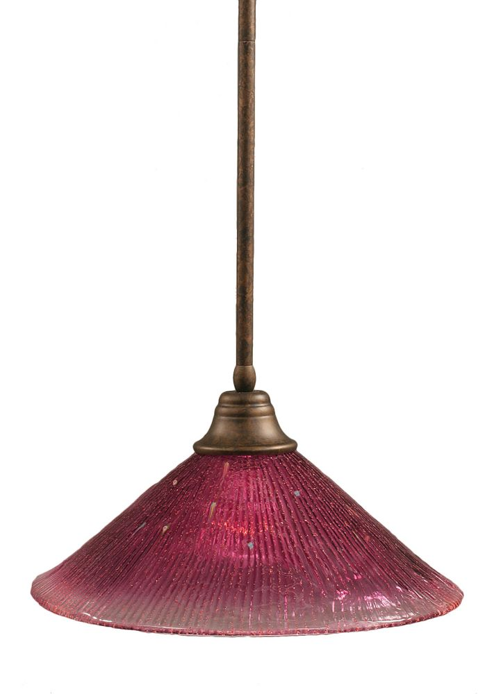Concord 1 Light Ceiling Bronze Incandescent Pendant with a Wine Crystal Glass