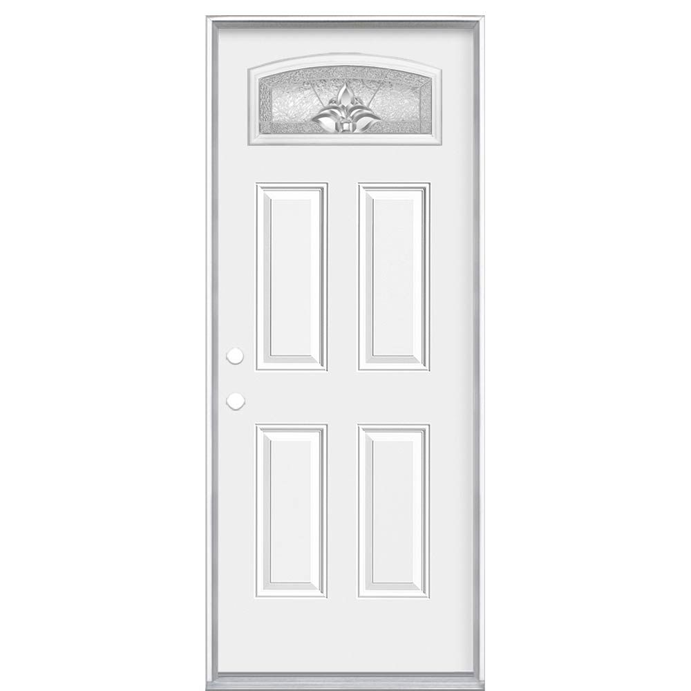 Masonite 36-inch x 6 9/16-inch Providence Camber Fan Right Hand Entry Door - ENERGY STAR®