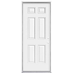 """Masonite 32""""x80""""x7-1/4"""" 6 Panneaux porte d'entrée m. gauche - ENERGY STAR®"""