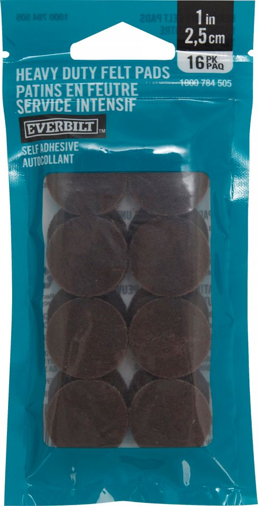 Everbilt 1 inch Heavy Duty Brown Self-Adhesive Felt Pads (16 Per Pack)