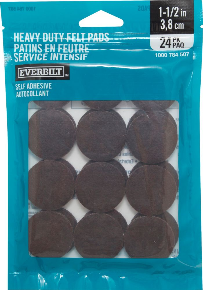 Everbilt 1-1/2 inch Heavy Duty Brown Self-Adhesive Felt Pads (24 per Pack)