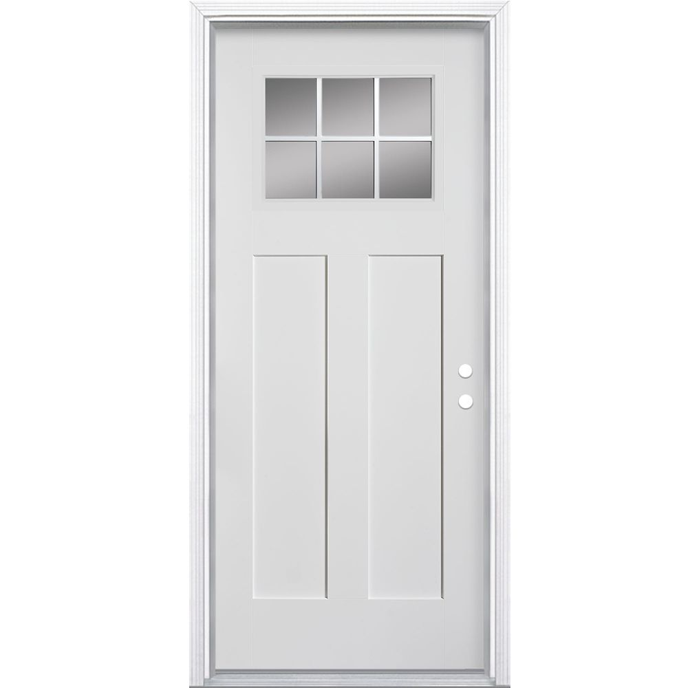 Masonite 32x49 16 craftsman 6 lite fibreglass smooth for Home depot exterior doors canada