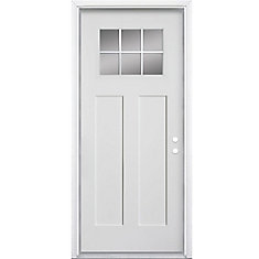 JELD-WEN 32 in. x 80 in. 6-Panel Primed 20 Minute Fire Rated Steel ...