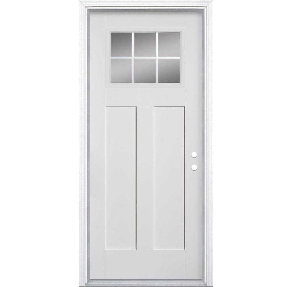 32-inch x 4 9/16-inch Craftsman 6-Lite Fibreglass Smooth Left Hand Door