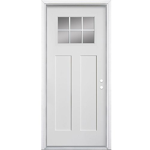 Masonite 32-inch x 4 9/16-inch Craftsman 6-Lite Fibreglass Smooth Left Hand Door - ENERGY STAR®