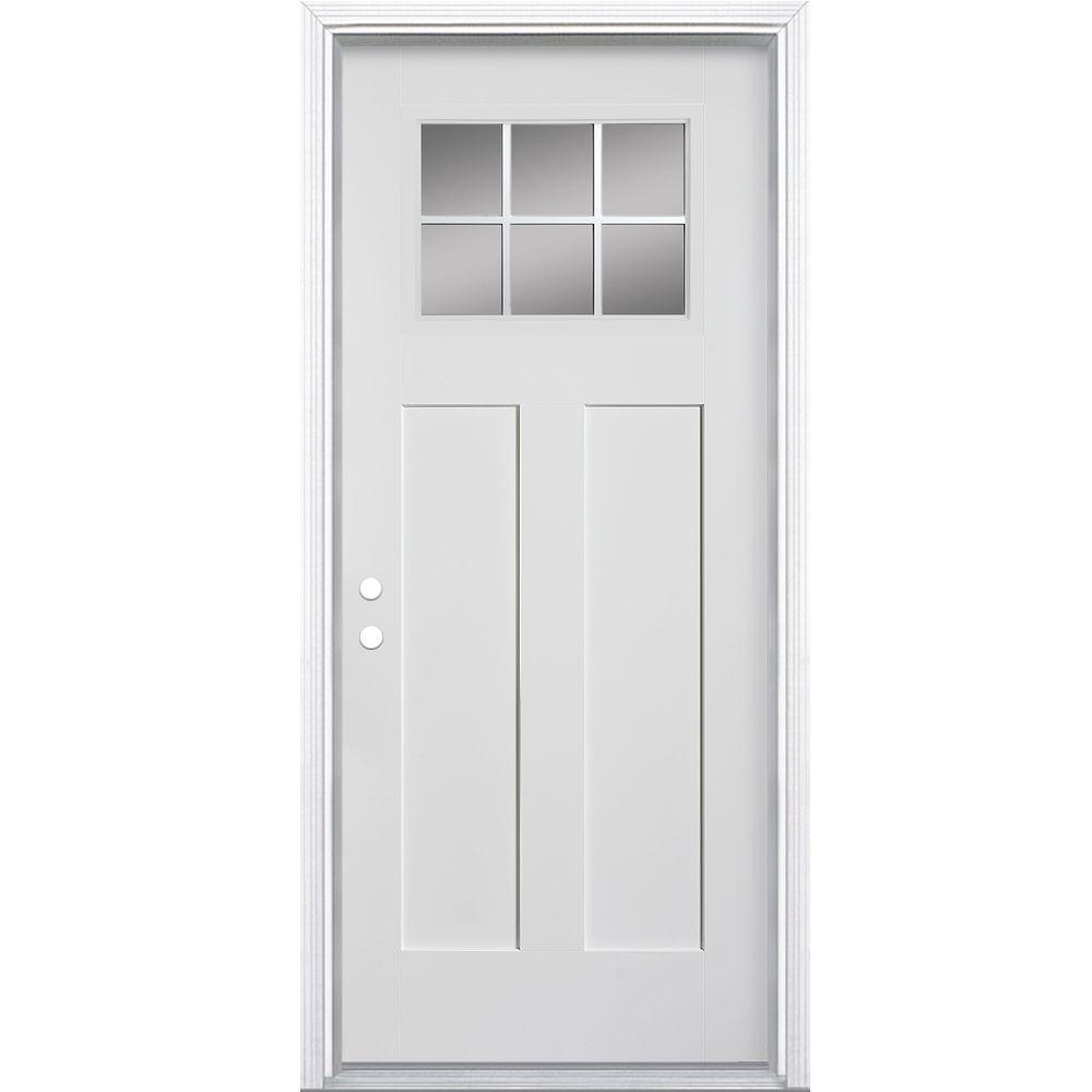 32-inch x 4 9/16-inch Craftsman 6-Lite Fibreglass Smooth Right Hand Door