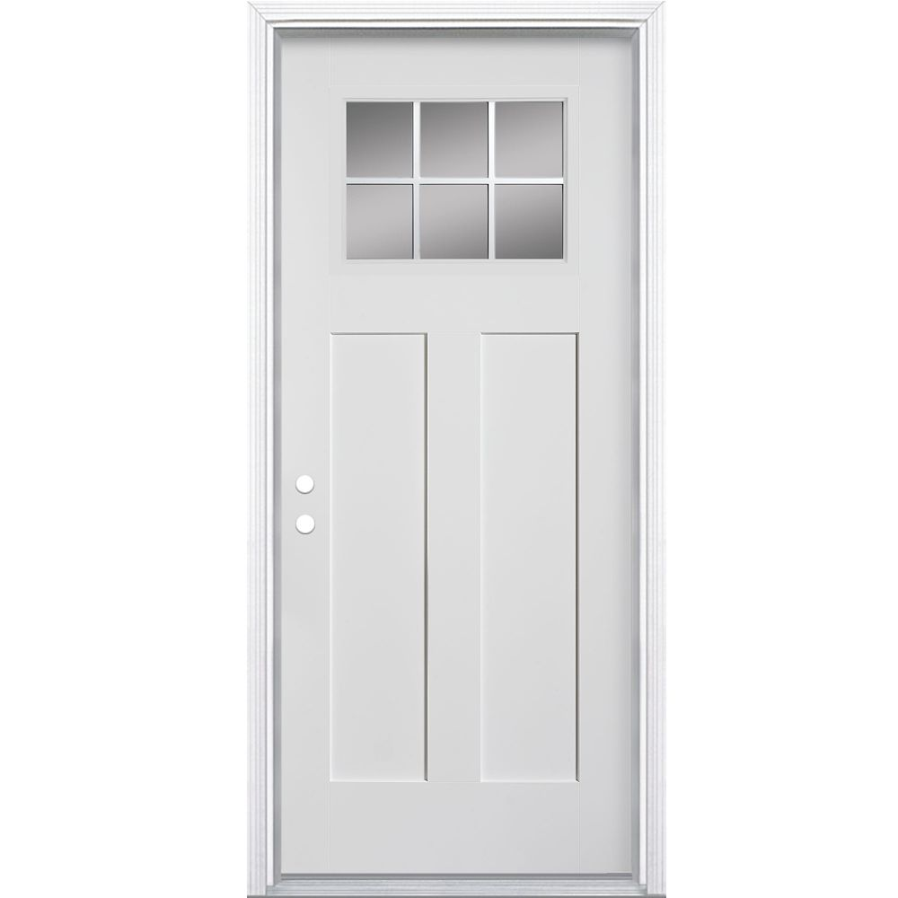 Masonite 32-inch x 4 9/16-inch Craftsman 6-Lite Fibreglass Smooth Right Hand Door - ENERGY STAR®