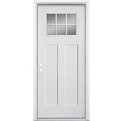 Masonite 34-inch x 4 9/16-inch Craftsman 6-Lite Fibreglass Smooth Right Hand Door - ENERGY STAR®