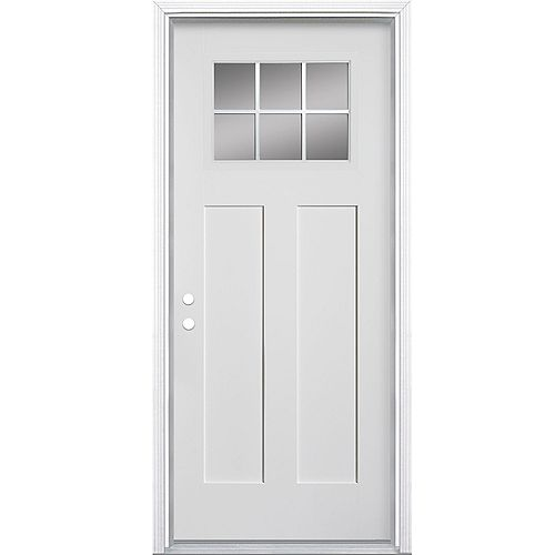 Masonite 34-inch x 4 9/16-inch Craftsman 6-Lite Fibreglass Smooth Right Hand Door - ENERGY STAR®