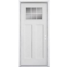 36-inch x 4 9/16-inch Craftsman 6-Lite Fibreglass Smooth Left Hand Door - ENERGY STAR®
