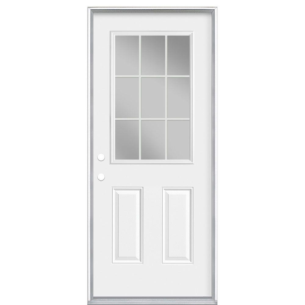 34-inch x 7 1/4-inch 9-Lite Internal Low-E Right Hand Door