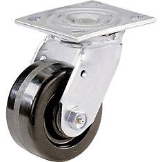 4 inch Phenolic Wheel Swivel Plate Heavy Duty Caster, Load Rating 500 Lbs.