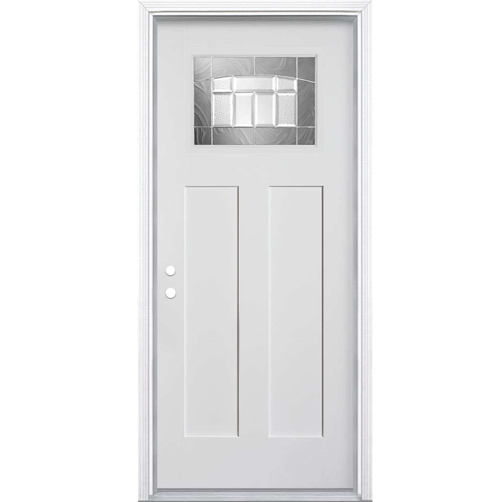 Masonite 36 inch x 80 inch primed 2 panel plank smooth - Home depot exterior doors 36 x 80 ...
