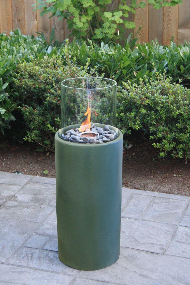 Paramount Seafoam Green Tall Cylinder Concrete Garden Burner