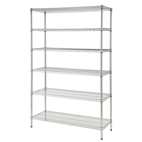 48-inch W x 72-inch H x 18-inch D Decorative Wire Chrome Heavy Duty Shelving Unit
