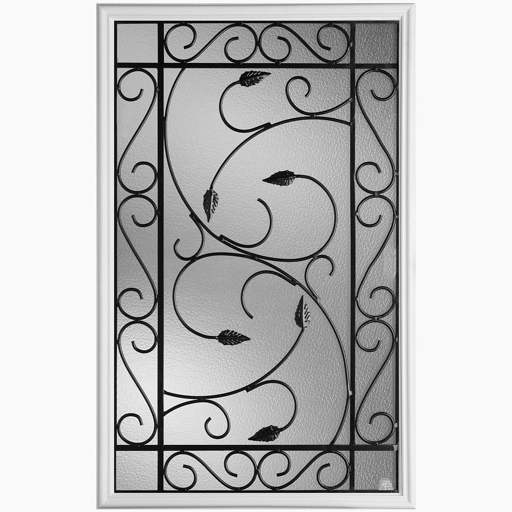 22 in x 36 in pergola iron glass insert 270968 canada for Home depot front door window inserts