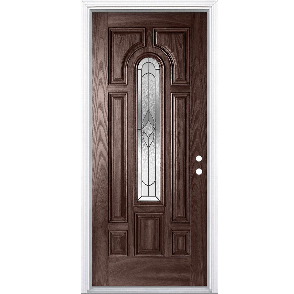 36-inch x 4 9/16-inch Oxney Merlot Centre Arch Fibreglass Left Hand Entry Door