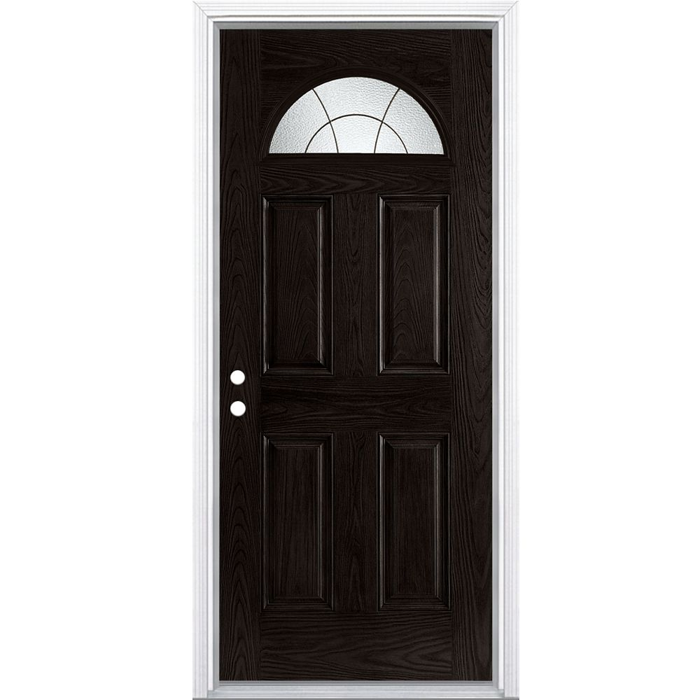 34-inch x 4 9/16-inch Rainham Espresso Fan Lite Fibreglass Right Hand Door