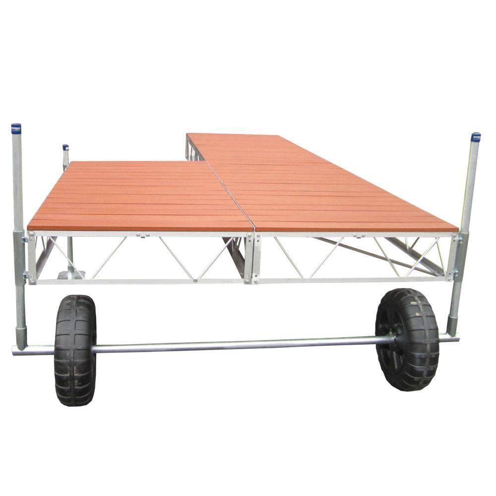 Quai avec patio monté sur roulettes de 24 pi avec pontage d'aluminium en similibois