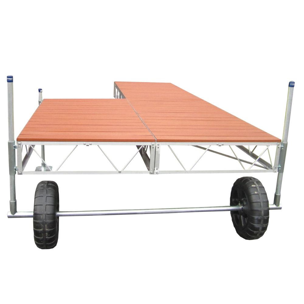 40 Feet  Patio Roll-in Dock w/Aluminum Wood Grain Decking