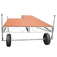 40 ft. Patio Roll-in Dock with Aluminum Wood Grain Decking