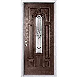 Masonite Porte dentrée avec vitrage central au-dessus arqué, baguettes patinées noires Oxney, 34 po x 80 po x 7 1/4 po, ouverture à droite