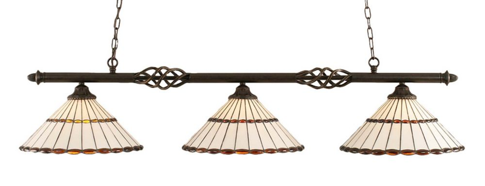 Concord 3 Light Ceiling Dark Granite Incandescent Billiard Bar with a Honey and Brown Tiffany Gla...