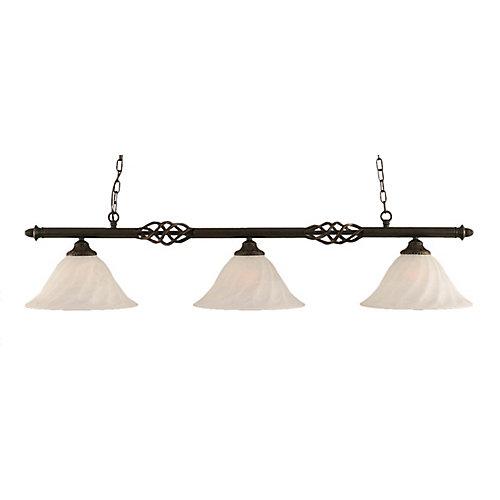 Concord 3 lumières plafond granite foncé incandescence Bar billard avec un verre d'albâtre