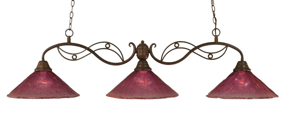 Concord 3 Light Ceiling Bronze Incandescent Billiard Bar with a Wine Crystal Glass