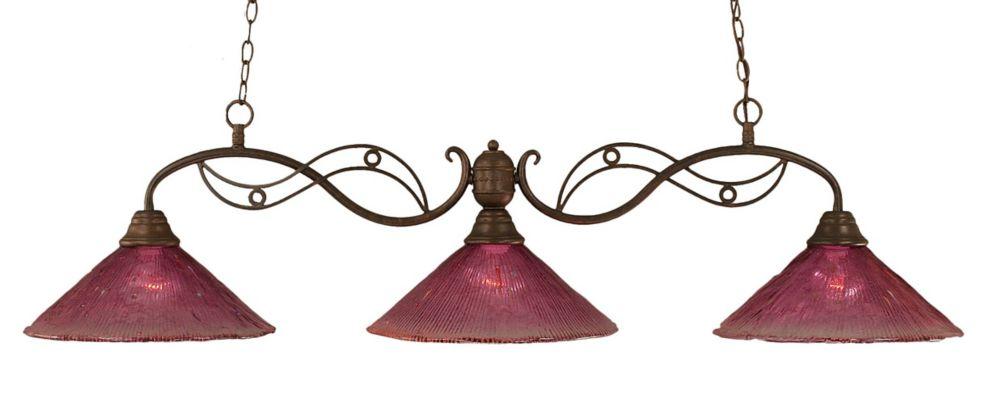 Concord 3 lumières plafond Bronze Incandescent Bar Billard avec un cristal en verre de vin