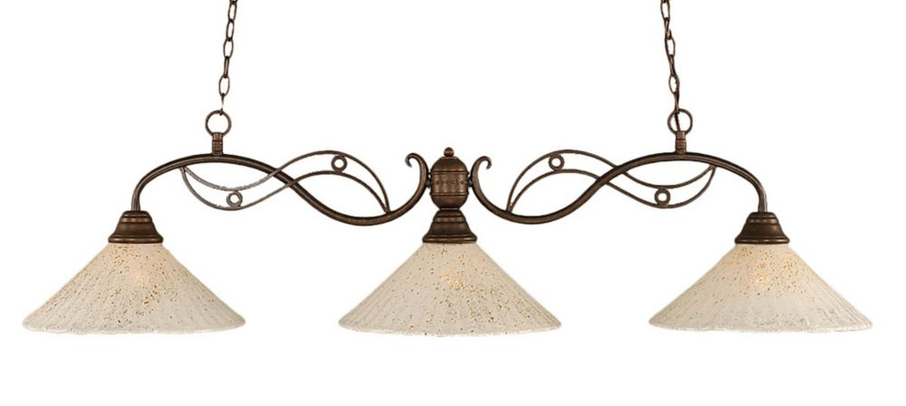 Concord 3 Light Ceiling Bronze Incandescent Billiard Bar with a Gold Crystal Glass