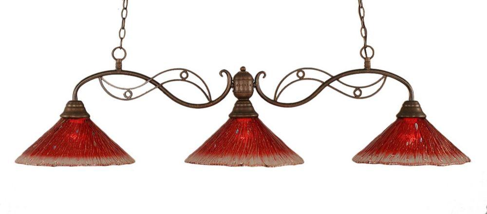 Concord 3 lumières plafond Bronze Incandescent Bar Billard avec un cristal de verre Framboise