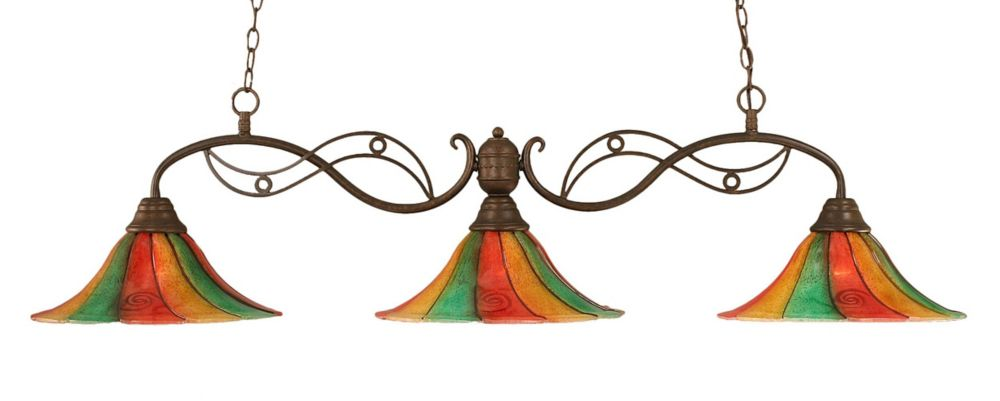 Concord 3 Light Ceiling Bronze Incandescent Billiard Bar with a Mardi Gras Glass