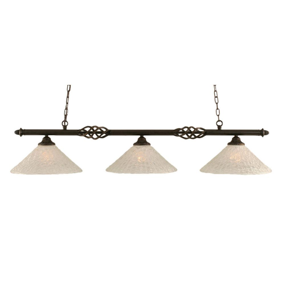 3 Light Ceiling Dark Granite Incandescent Billiard Bar with a Clear Crystal Glass