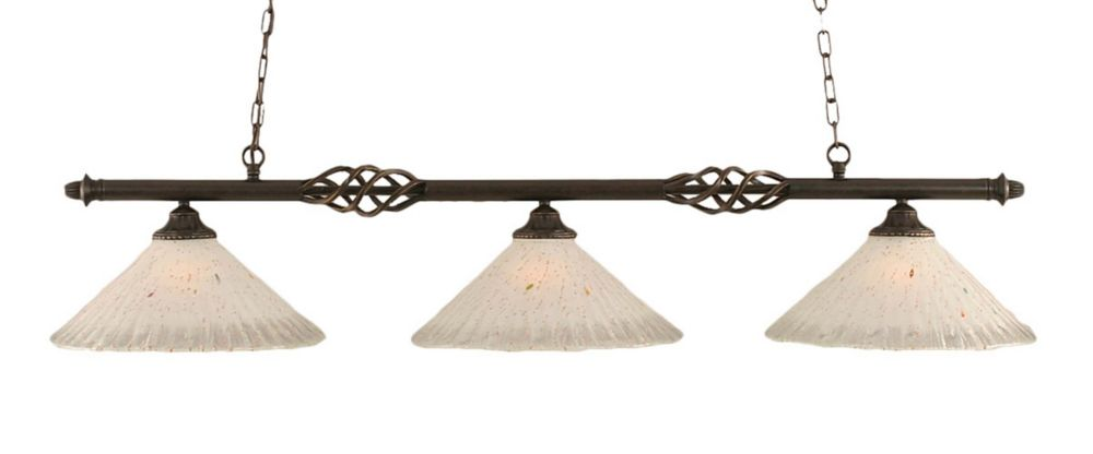 Filament Design 3 Light Ceiling Dark Granite Incandescent Billiard Bar with a Frosted Crystal Glass