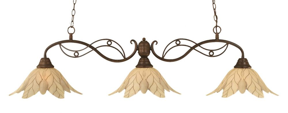 Concord 3 Light Ceiling Bronze Incandescent Billiard Bar with a Vanilla Leaf Glass