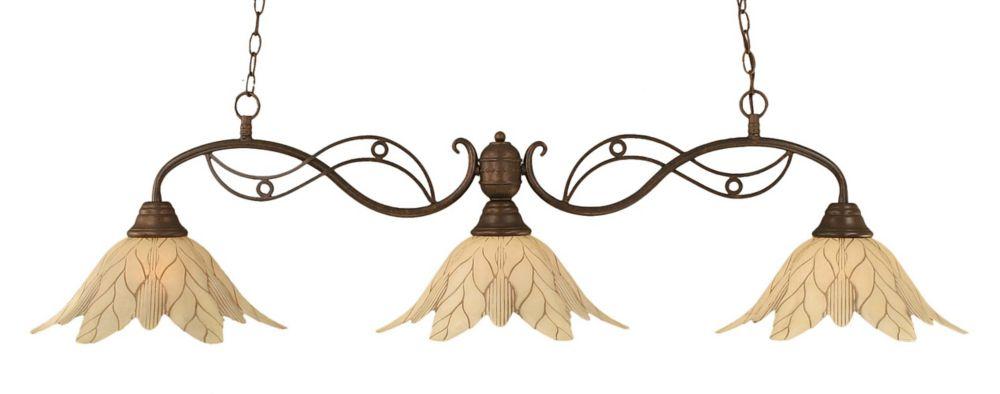 Concord 3 lumières plafond Bronze Incandescent Bar Billard avec un verre de feuille vanille