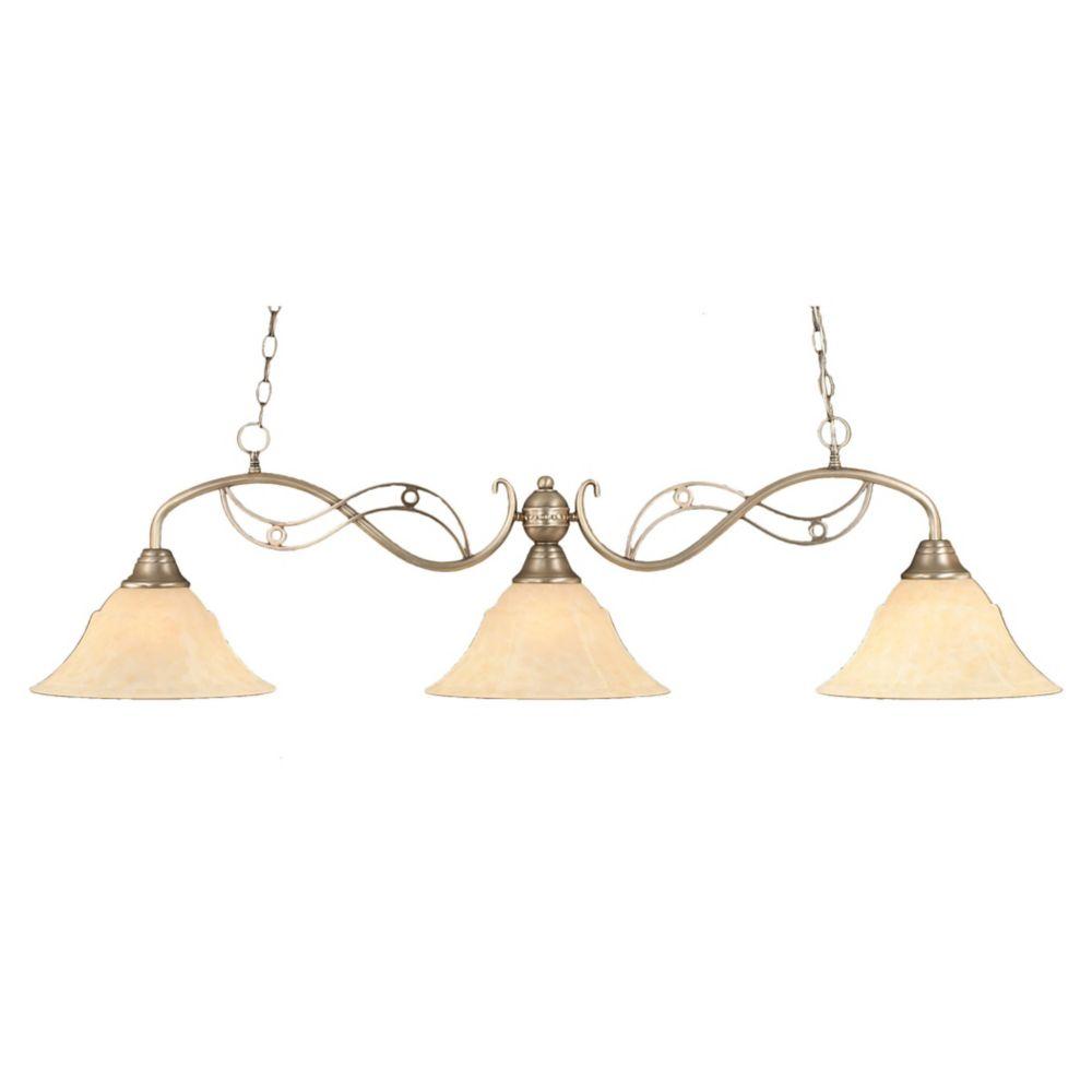 Concord plafond 3 lumières, nickel brossé à incandescence Bar de billard avec un verre ambre