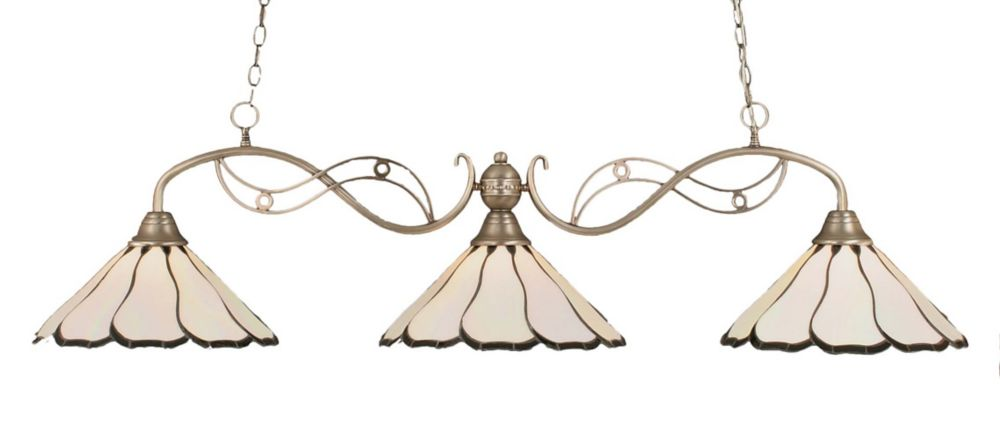 Concord 3 Light Ceiling Brushed Nickel Incandescent Billiard Bar with a Pearl Flair Tiffany Glass