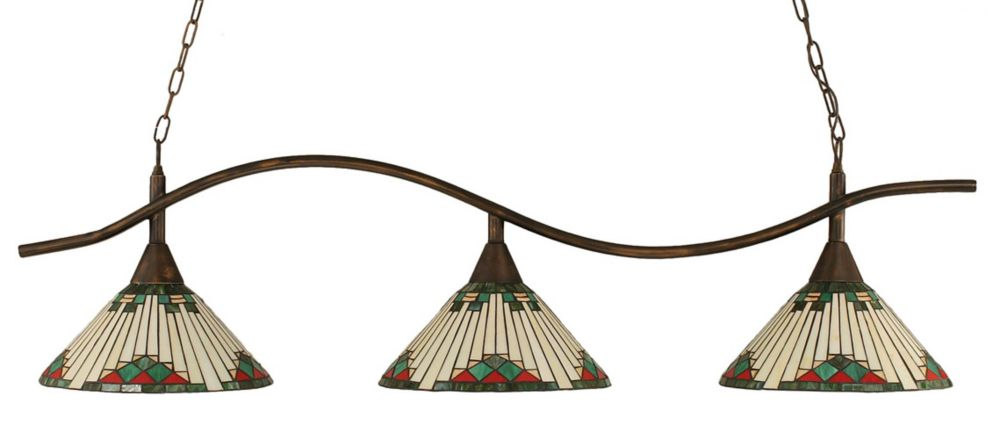 Concord 3 Light Ceiling Bronze Incandescent Billiard Bar with a Green Tiffany Glass