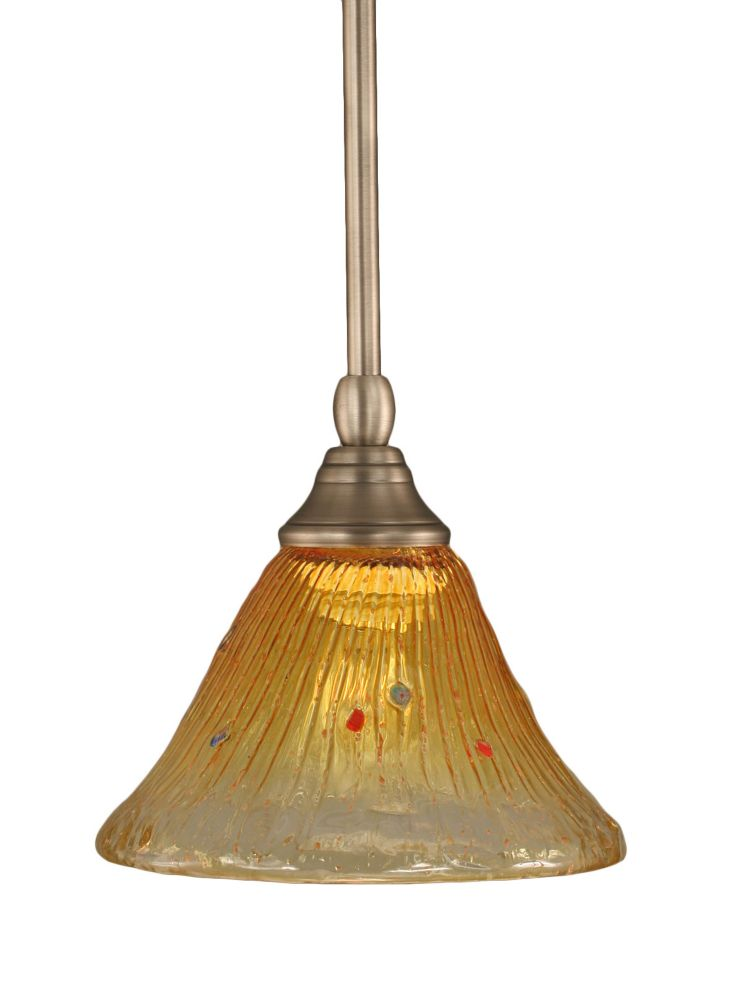 Concord 1 Light Ceiling Brushed Nickel Incandescent Pendant with a Gold Champagne Crystal Glass
